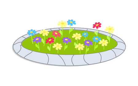 Icon Sepicting Colorful Flowerbed Vector Cartoon