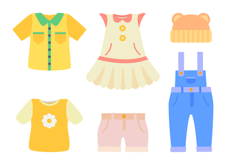 Baby Clothes Collection Poster Vector Illustration  イラスト・ベクター素材
