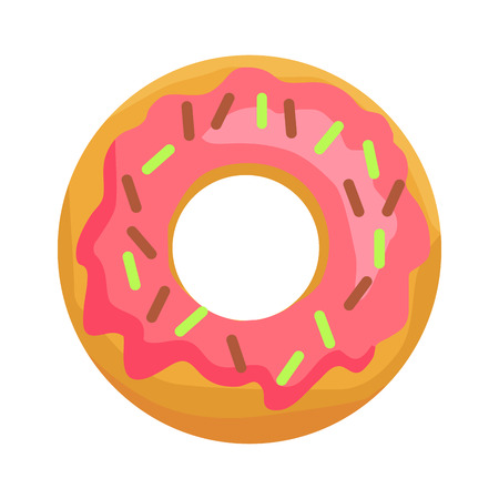 Donut in Pink Glaze with Chocolate Sprinkles Icon Illusztráció