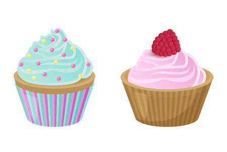 Various Cakes with Cupcakes Vector Illustration