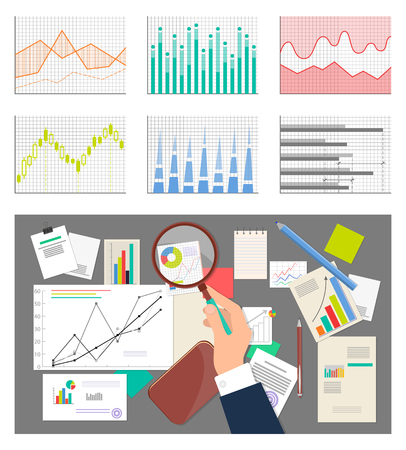Mans Hand and Glass Charts Set Vector Illustration Stock Illustratie