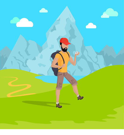 Man Travelling in Mountains Vector Illustration