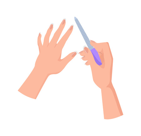 Hands and Nail File Poster Vector Illustration