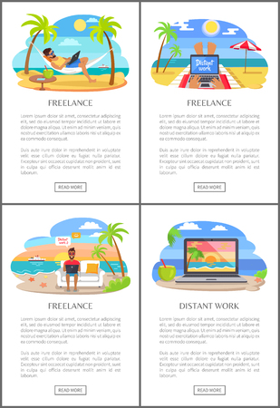 Distant Work and Freelance Vector Illustration
