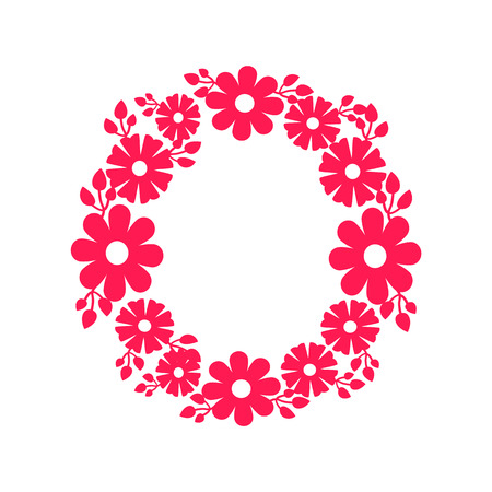 Round Frame Made of Blooming Flowers Vector Icon Illustration