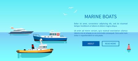 Marine Boats Colorful Card Vector Illustration Illustration