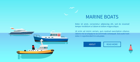 Marine Boats Colorful Card Vector Illustration Иллюстрация