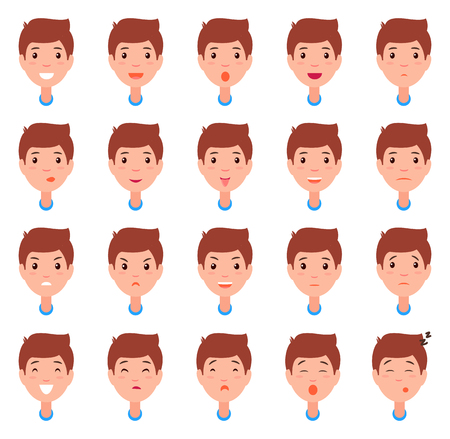 Set of Man Faces, Character Constructor Emotions Foto de archivo - 102200910