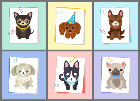 Puppies and Dogs Poster Set Vector Illustration Archivio Fotografico - 102241953
