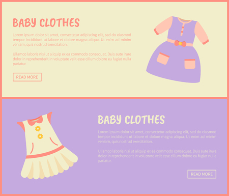 Baby Clothes Dress Collection Vector Illustration Illustration