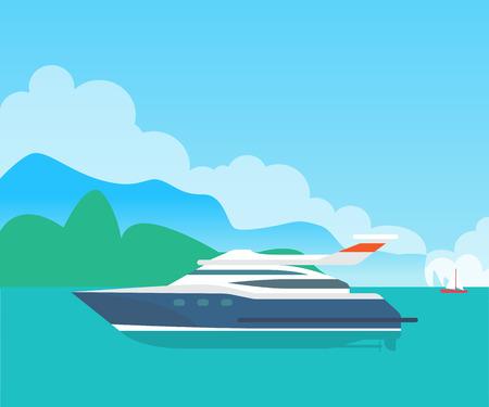 Big Sea Motorboat and Cute Seascape, Color Banner Illustration