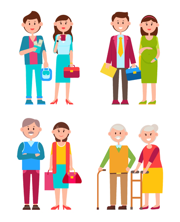 Couples Set of Different Ages Vector Illustration