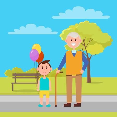 Grandfather and Grandson Park Vector Illustration Illustration