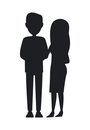 Man and Woman Silhouettes, Young Family Banner