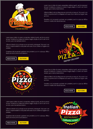 Hot Italian Pizza Fast Delivery Web Pages Set