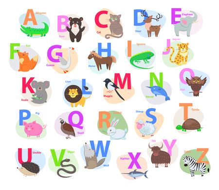 Children ABC with Cute Animals Cartoon Flat Vector Ilustracja
