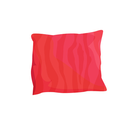 Cute Red Cushion, Colorful Vector Illustration Illustration