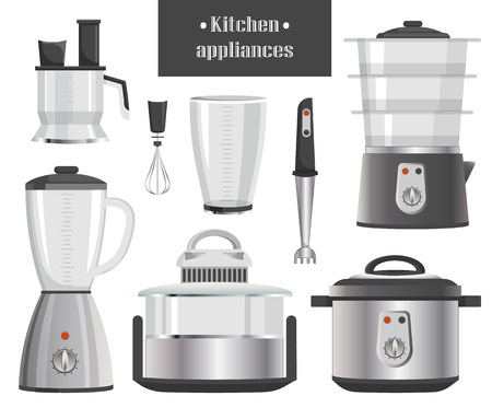 Kitchen Electric Appliances in Metallic Corpuses Illustration