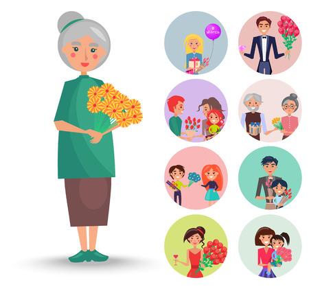 Old Grandmother with Orange Flowers Illustration Illustration