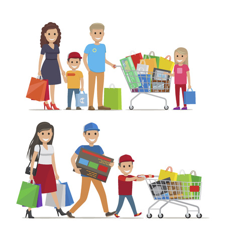 Groups of People Doing Shopping Vector Picture