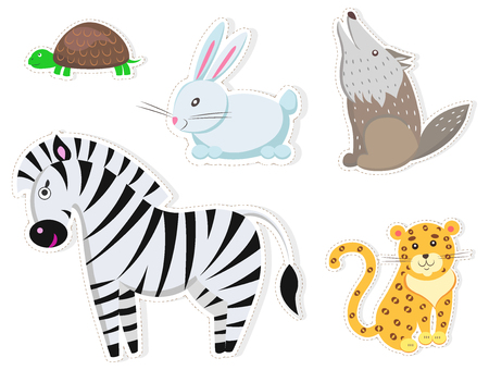 Friendly Cartoon Wild Animals Isolated Stickers