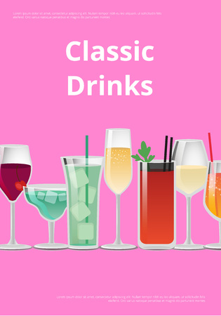 Classic Drinks Advertising Poster Icons Alcohol 版權商用圖片 - 102242015