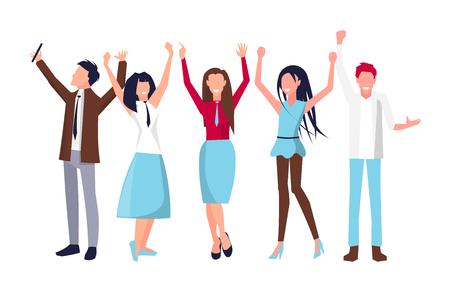 People Raising Their Hands on Vector Illustration Illustration