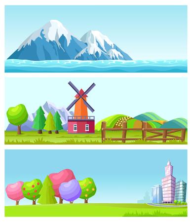 Beautiful Cartoon Flat Vector Landscapes Set