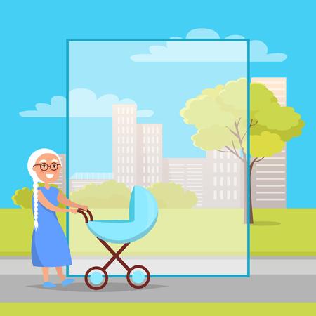 Senior Lady with Trolley Pram Walking in City Park Stock Illustratie