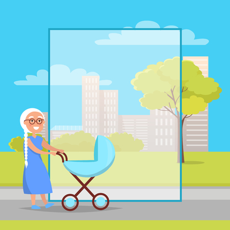 Senior Lady with Trolley Pram Walking in City Park Illustration