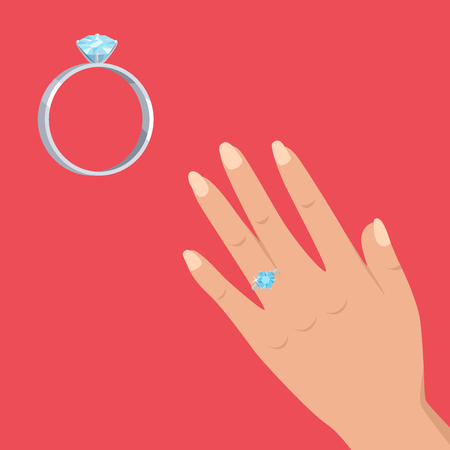 Marriage Proposal or Engagement Vector Concept Иллюстрация