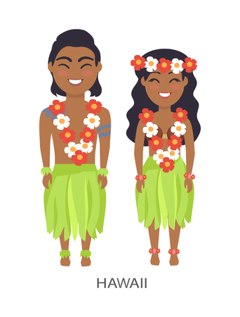 Hawaii Male and Female Image Vector Illustration