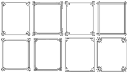 Marcos ornamentales con esquinas en diferentes estilos Ilustración de vector