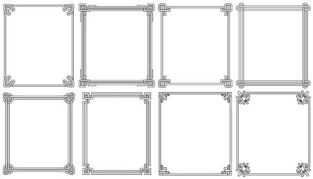 Zierrahmen mit Ecken in verschiedenen Stilen Vektorgrafik