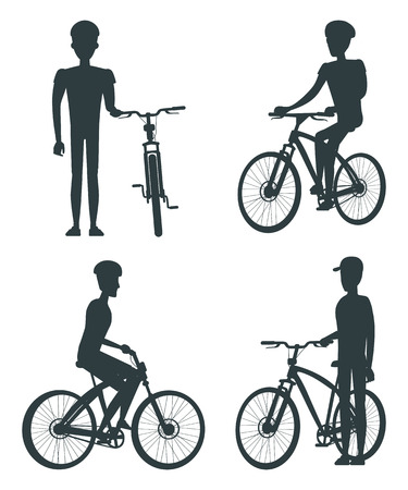 Set of Dark Silhouettes of Bikes and Cyclists  イラスト・ベクター素材