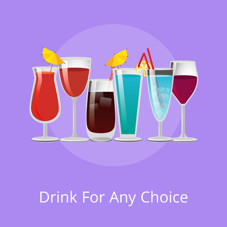 Drink for any Choice Poster Summer Cocktails Set Çizim