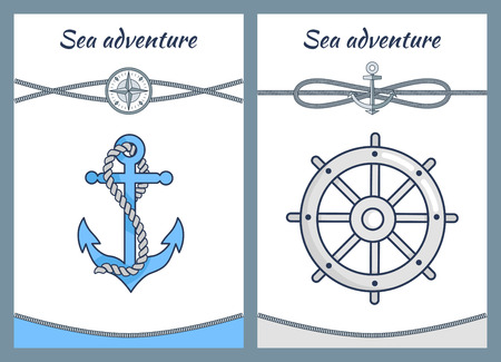 Sea Adventure Color Posters, Vector Illustration