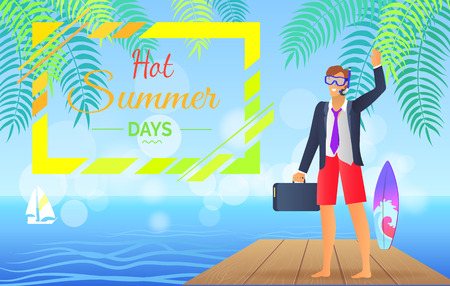 Hot Summer Day Colorful Poster Vector Illustration