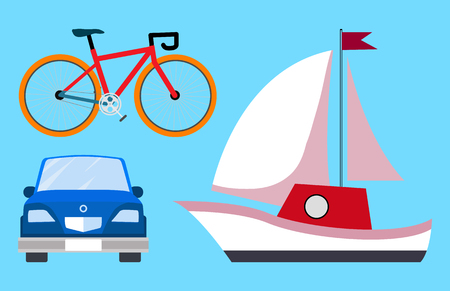 Transportations Bicycle Car Vector Illustration