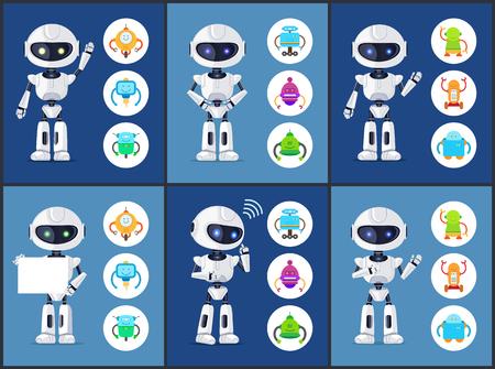 Robots of Modern Type Set Vector Illustration Illustration