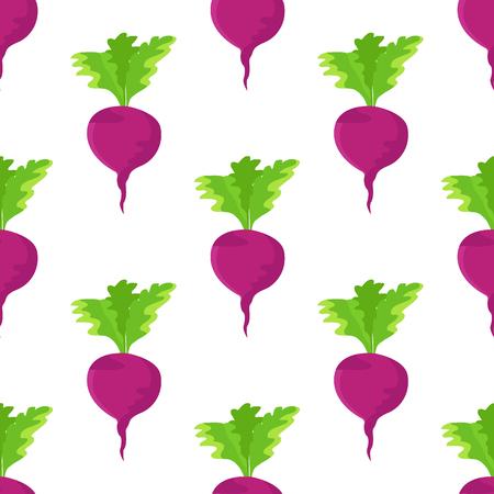 Garden Radish Purple Plant Seamless Pattern Vector Illustration