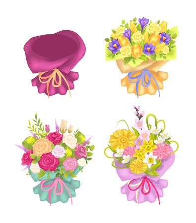 Four Beautiful Packing and Cute Flowers Color Card Illusztráció
