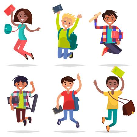 Aufgeregte Schülerinnen und Jungen springen flaches Design