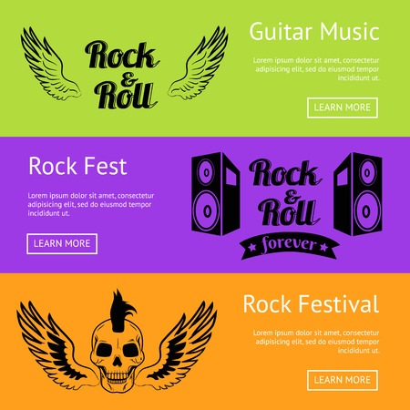 Rock Music Collection of Creative Colorful Posters