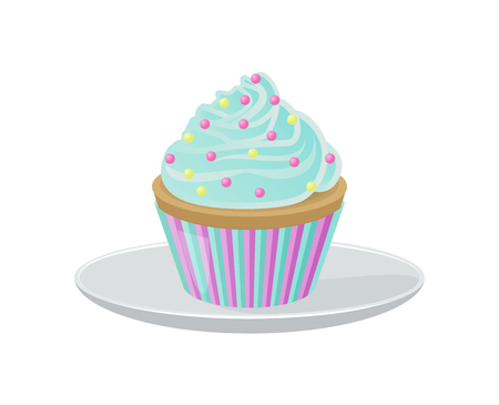 Cupcake with Blue Cream and Bright Round Sprinkles