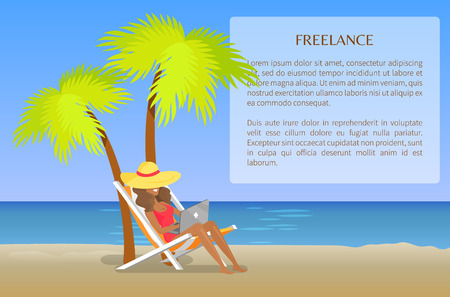 Freelance Poster with Cheerful Woman Distant Work