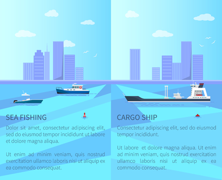 Sea Fishing and Cargo Ship Vector Illustration Stock Photo