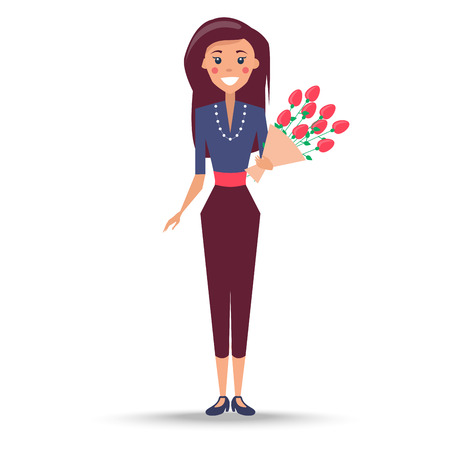 Young Woman with Bouquet of Roses Illustration Banque d'images - 102242093