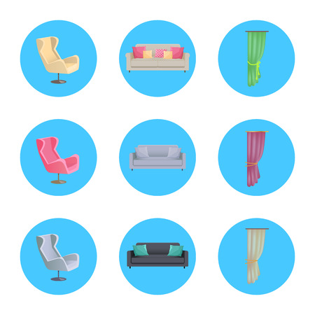 Home Interior Collection Icons Vector Illustration