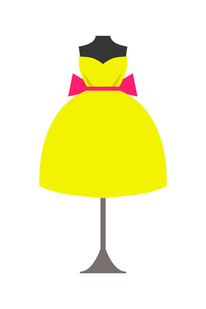 Mannequin in Bright Yellow Dress with Pink Bow 写真素材 - 102261429